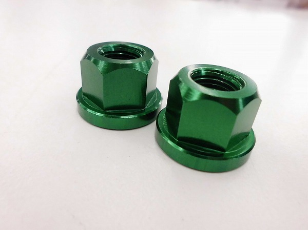 """ハブナットセット 3/8""""(約10mm)軸用/アルミ/グリーン"""