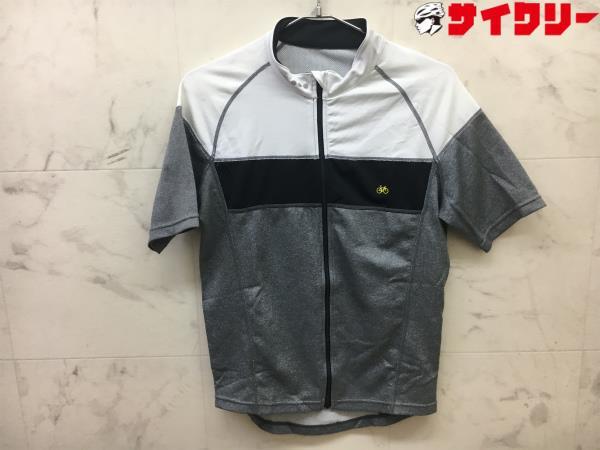 半袖フルジップジャージ サイズ:L ホワイト/グレー