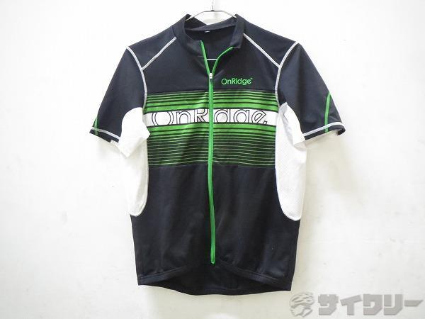 半袖ウフルジップウェア Mサイズ ブラック/グリーン