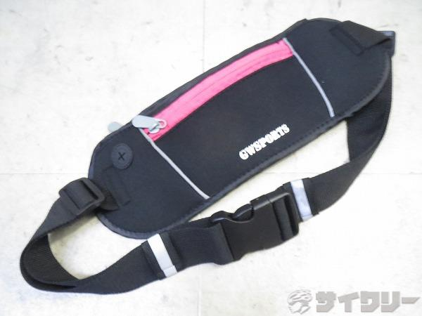 ウエストバッグ 300x110mm ブラック/ピンク
