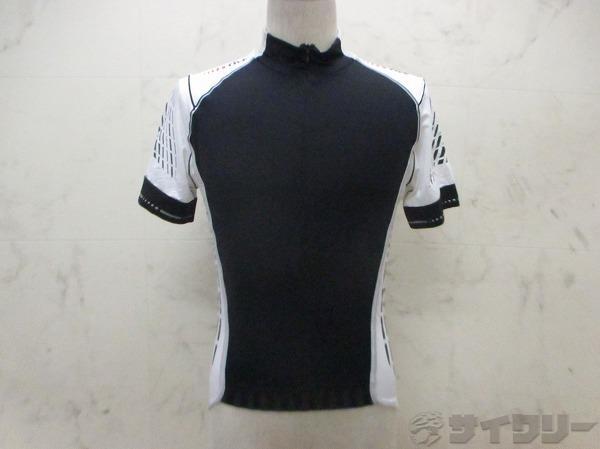 半袖ハーフジップジャージ サイズ:L ブラック/ホワイト