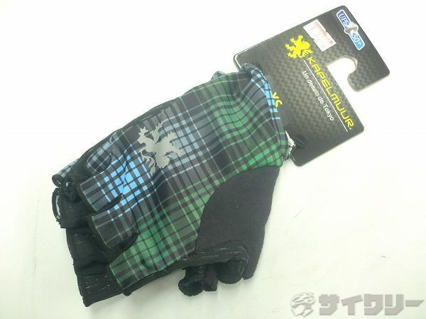 ハーフフィンガーグローブ UVカット グリーンチェック XSサイズ