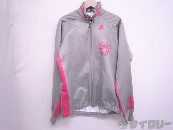 長袖ジャケット 裏起毛 グレー/ピンク Mサイズ