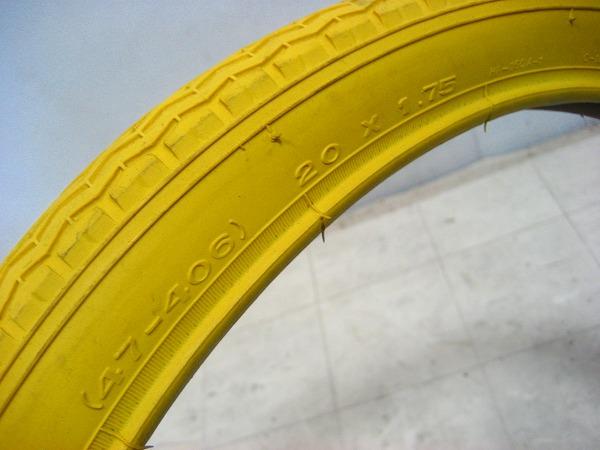 カラータイヤ イエロー 20×1.75(406)