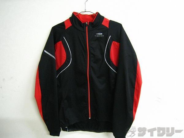 長袖フルジップジャケット サイズ:L 裏起毛 ブラック/レッド