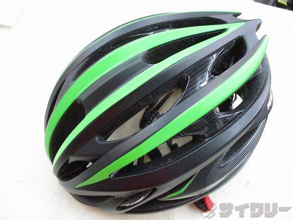 パット劣化 ヘルメット FEROX ブラック/グリーン サイズ:L (59-60cm)