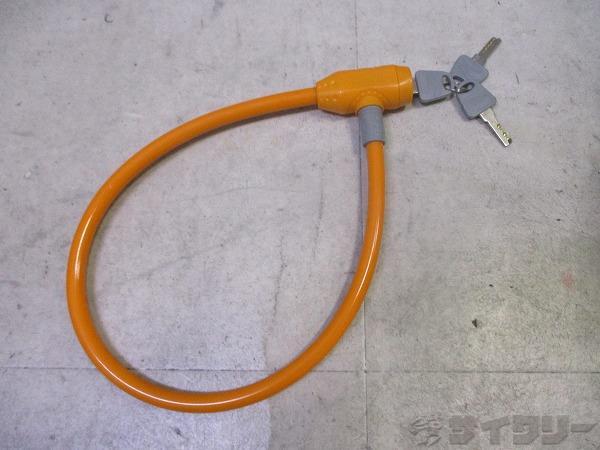 ワイヤーロック 鍵x3 オレンジ
