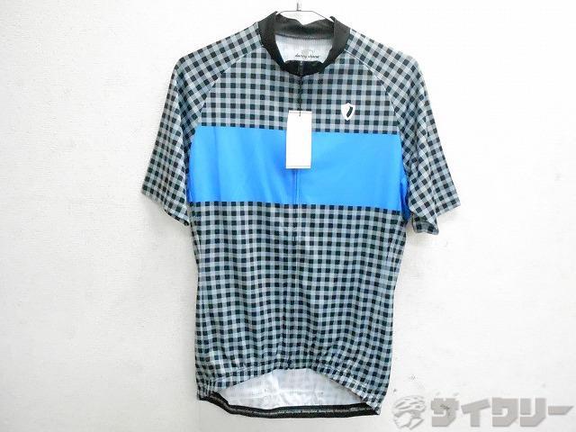 半袖フルジップジャージ サイズ:L チェック柄/ブルー