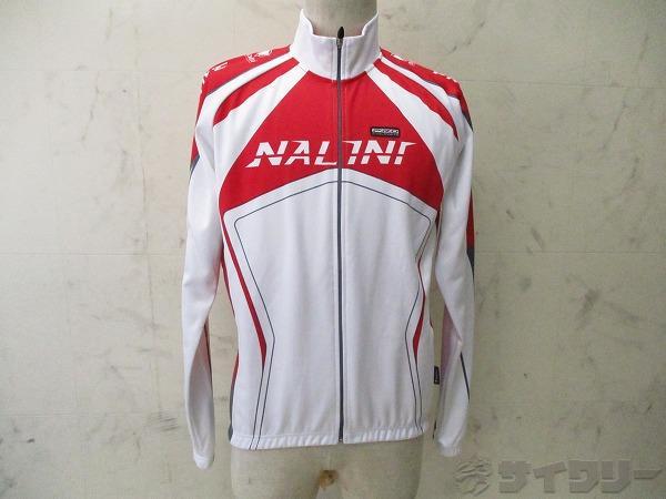 長袖フルジップジャケット サイズ:L レッド/ホワイト