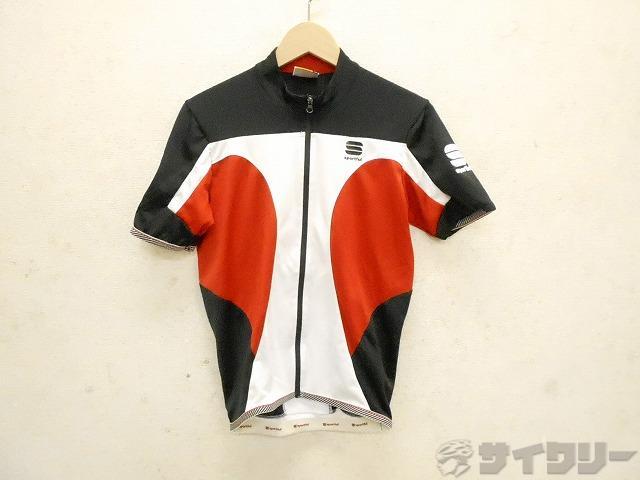半袖フルジップジャージ サイズ:S ホワイト/レッド/ブラック