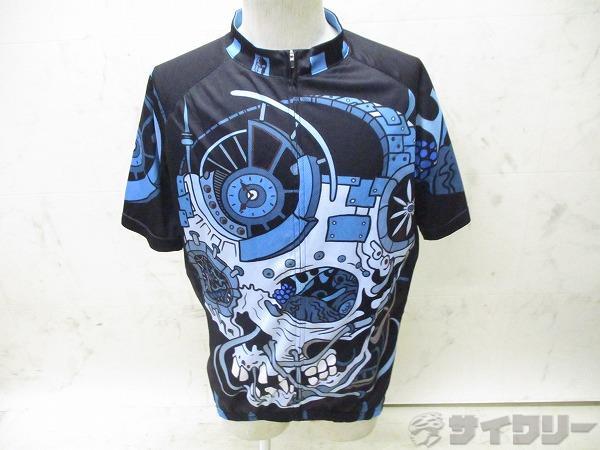 半袖フルジップジャージ ASIA:3XL ブルー/ブラック