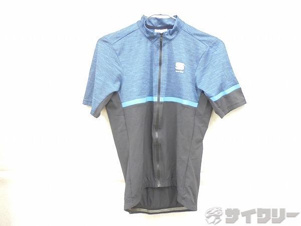 半袖フルジップジャージ Sサイズ ブルー/ブラック
