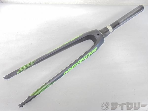 カーボンフロントフォーク 700c テーパーコラム 230mm グレー/グリーン