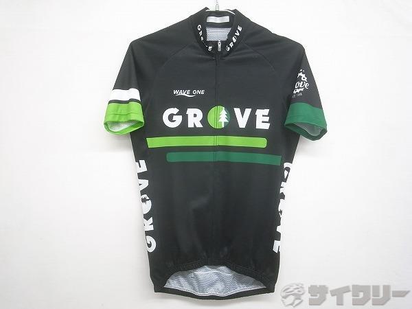 半袖フルジップジャージ GROVE Lサイズ ブラック/グリーン